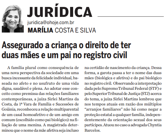 Coluna Jurídica, do jornal O Hoje, repercute atuação da advogada Chyntia Barcellos em caso de multiparentalidade em Goiás